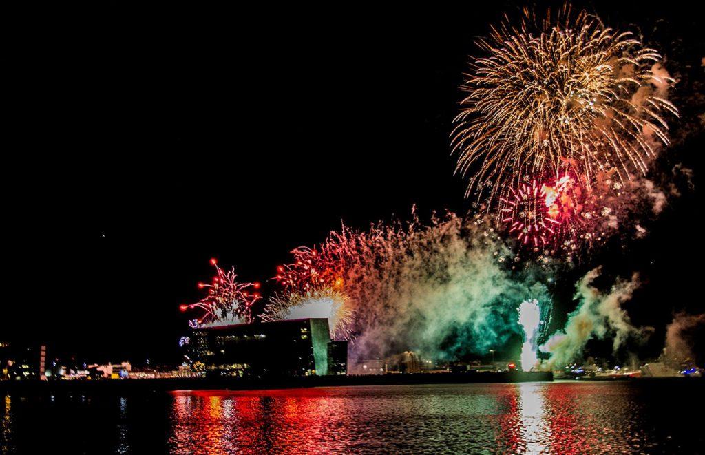 Amazing fireworks display over Reykjavik City, Iceland