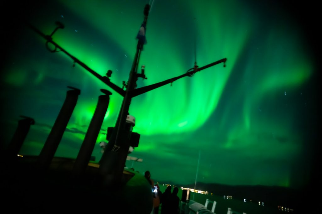 Northern Lights display seen from sea