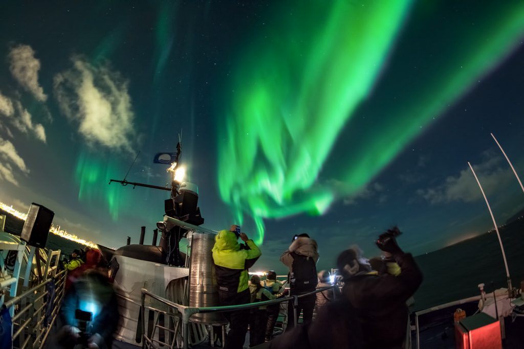Northern Lights seen from the Atlantic Ocean